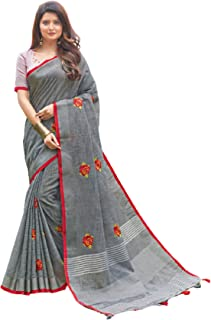 Summer Indian Women's Linen Cotton Handloom Weaving Formal Occasion saree Muslim Party Sari Blouse 6209
