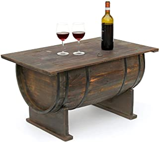 DanDiBo Couchtisch als halbiertes Weinfass Tisch aus Holz Beistelltisch 80 cm 5084 Weinregal Wein Fass Bar