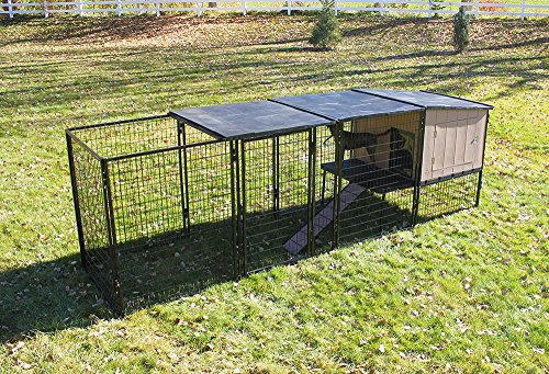 4' X 4' K9 Kennel Castle House With 4' X 12' Run with Metal Cover-Basic