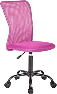 Mid Back Ergonomic Computer Office Chair Executive Desk Task Mesh Chair Rolling Swivel Chair with Lumbar Support for Back Pain(Pink)