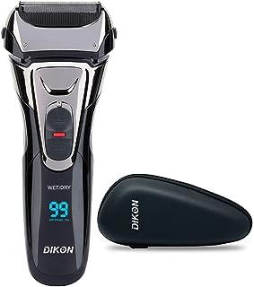 DIKON メンズシェーバー 電気シェーバー 3枚刃 往復式 電動髭剃り 深剃り 早剃り 丸洗い USB充電式 IPX7防水 LEDディスプレイ トリマー付き(収納ボックス付き)