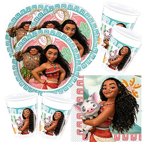Procos Disney Vaiana - Juego de vajilla para fiesta (52 piezas, platos, vasos y servilletas para 16 niños)