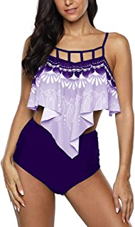 Women Plus Size Two Piece Swimsuit Tankini, Ladies Floral Printed Bikini Set High Waist Tank Tops