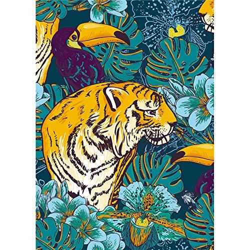 N / A Tropischer Regenwald Kleine frische Leinwand Malerei Tiger Papagei Flamingo Tierdruck Poster Familie Home Wanddekoration Bilder 60x90CM NO fream