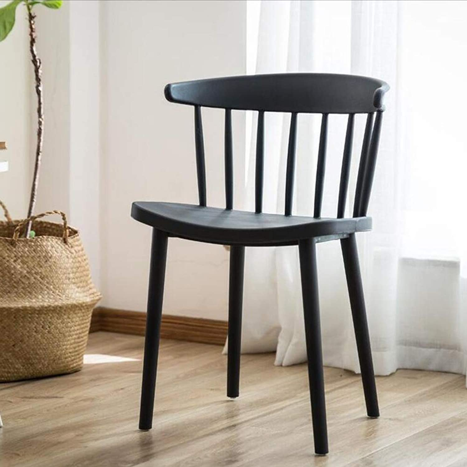 Dining Chairs Seat Chair Northern Europe Modern and Simple Household Backrest Plastic Creativity Coffee Negotiation Restaurant FENPING (color   Black)