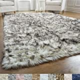Gorilla Grip Original Premium Faux Fur Area Rug, 4x6, Softest, Luxurious Shag Carpet Rugs for Bedroom, Living Room, Luxury Bed Side Plush Carpets, Rectangle, Frosted Tips Black