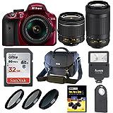 Nikon D3400 DSLR Camera (Red) w/ 18-55mm & 70-300mm Lenses & 32GB SD Card Bundle