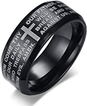 PJ Jewelry 8mm Mens Stainless Steel English Bible Christian Lord's Prayer Cross Wedding Bands Promise Ring