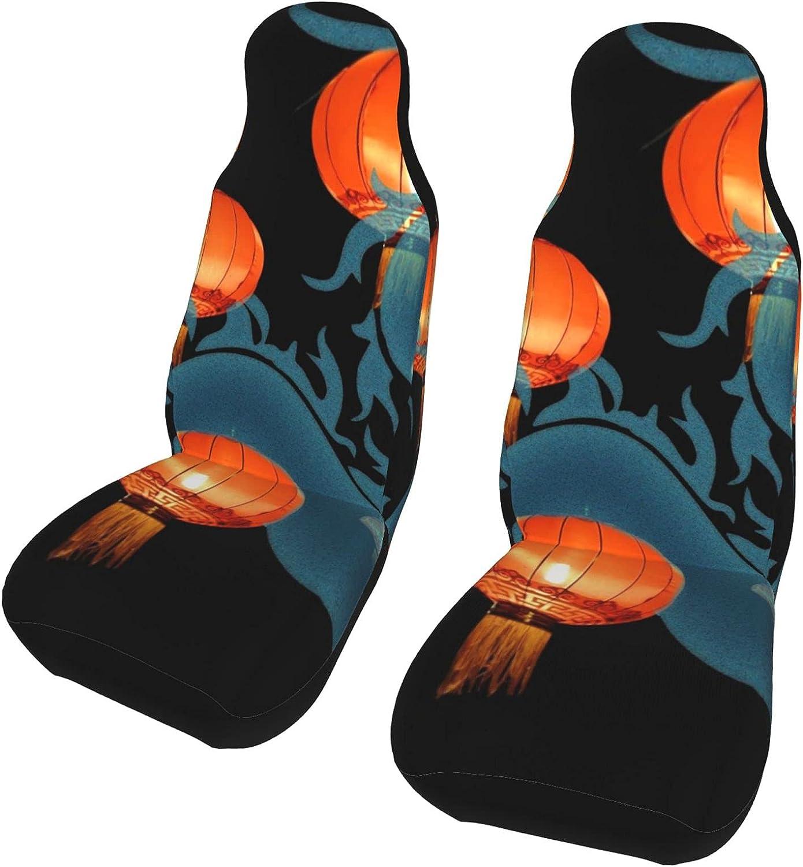 Outlet SALE Lantern Dragon Max 85% OFF Art Front Seat Covers Protector 2 Car Uni Set Pcs