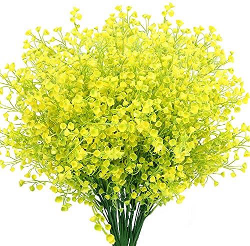 Ruiuzioong Flores Arbustos Artificiales Plantas Flores Exteriores Resistentes a Rayos UV Arbustos Artificiales Decorativos para Decoración de Arreglo Floral, Centro de Mesa (4 Pcs,Yellow)