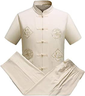 RkBaoye Men's Baggy Short-Sleeve 2 Pieces Chinese Costume Solid Tracksuit
