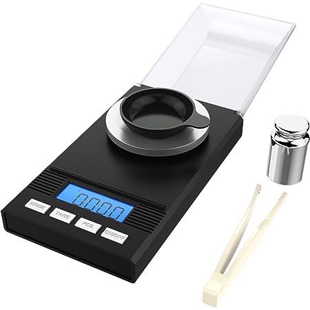homgeek Mini Balance de Cuisine Electronique Balance de Précision 0,001g / 50g,Écran LCD, Balance de Bijoux avec Pince à Epiler et Plateau de Pesée