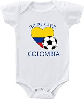 Speedy Pros Future Soccer Player Colombia Infant Toddler Baby Bodysuit One Piece Newborn White