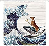 MSK BS Lustiger H& Duschvorhang Set Corgi Rides A Whale Fight The Monster Godzilla Riesige Wave Duschvorhang Holzbrett Hintergr& Badezimmer Dekor mit Haken 183 x 183 cm Blau