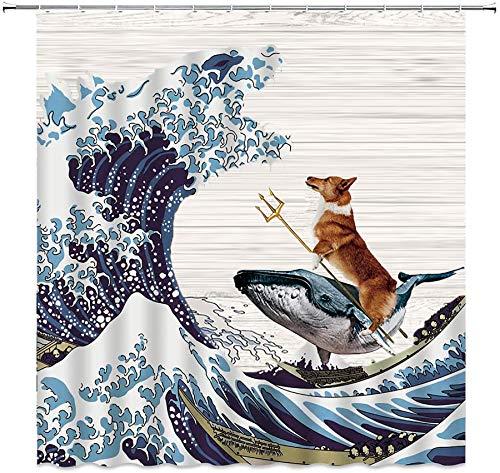 MSK BS Lustiger Hund Duschvorhang Set Corgi Rides A Whale Fight The Monster Godzilla Riesige Wave Duschvorhang Holzbrett Hintergrund Badezimmer Dekor mit Haken 183 x 183 cm Blau