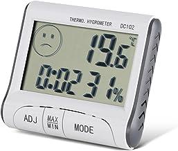 Pomya Higrómetro Digital Profesional Termómetro Interior Medidor de Humedad de la habitación con Reloj para el hogar, la Oficina, el Invernadero, el termómetro LCD Digital Higrómetro