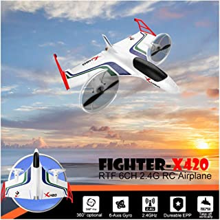 RTF Airplane   Top Race Remote Control Plane Aerobatic Vertical Take-Off Glider   Radio Control Aircraft Built in 3D6G System Easy to Fly for Beginner (1PC White 3D6G Aerobatic Airplane RTF)