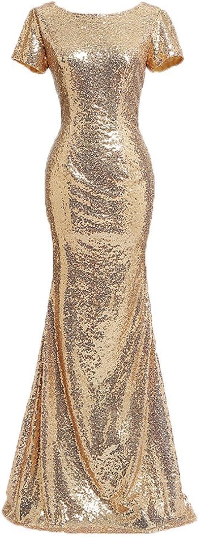 FashionRun Women Elegant Short Sleeve V Neck Back Mermaid Party Gowns Evening Sequin Long Wedding Dress