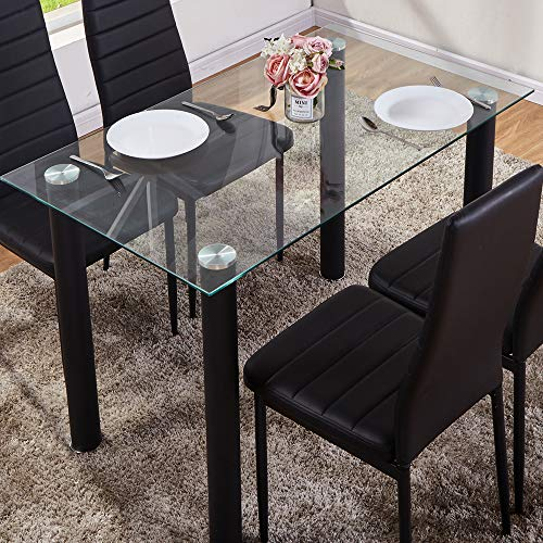 GOLDFAN Glass Dining Table Modern Rectangle Clear Glass Kitchen Dining Table with Black Chrome Legs for Living Room Lounge Office (Only Table)
