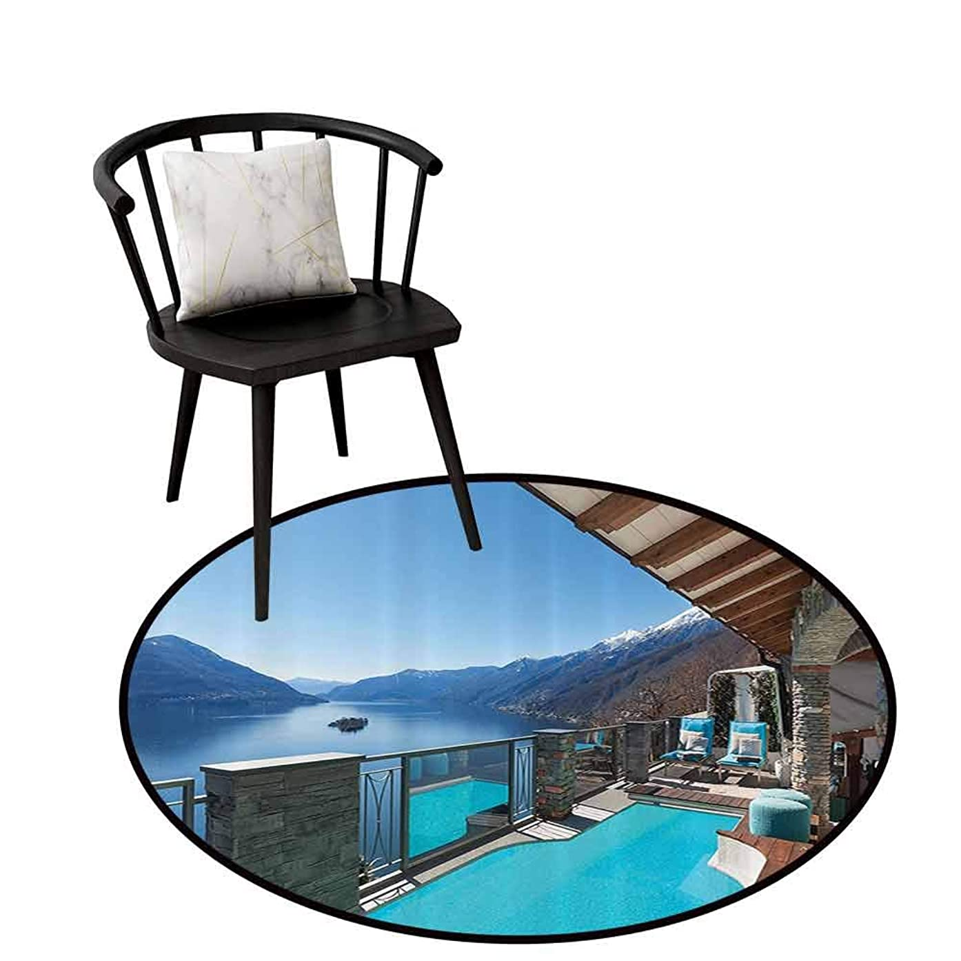 Multi-Pattern Round Rug House Decor Collection Easy to Clean Terrace with Pool and Lake View Luxury House Balcony Leisure Dream Vacation Image Pattern Blue Aqua D31(80cm)