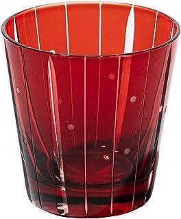 江戸切子 立菱縞紋 天開オールドグラス(赤)TB99325R 木箱入り 太武朗工房直販