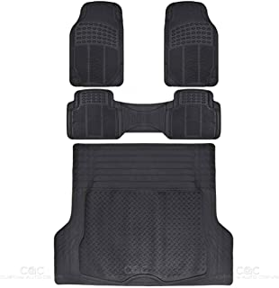 BDK MT-783-785-BK_AMF MT35 Proliner Weather Rubber Auto Floor Mats and Cargo Liner-Heavy Duty Set Fit for Car SUV Van and Truck, 4 Piece, Black
