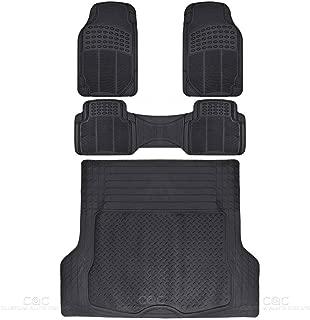 BDK MT35 Proliner Weather Rubber Auto Floor Mats and Cargo Liner-Heavy Duty 4Pc Set Fit for Car SUV Van & Truck (Black)