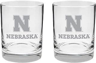 Nebraska Cornhuskers 2-Sided Etched Satin Finish Rocks Glass Set of 2