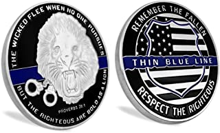 Thin Blue Line Lives Matter Law Enforcement Challenge Coin Police Officer Gift