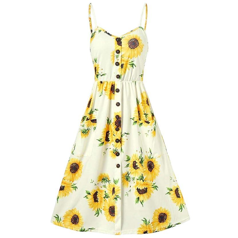 Summer Dresses for Women Miuye Women Sexy Sunflower Printing Pocket Button Off Shoulder Sleeveless Dress