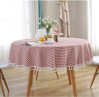 Nappes Rondes Anti Taches, Treer Coton et Lin Essuyable Facile à Nettoyer Nappe Design Rayure Pompon de Style Nordique Lin...