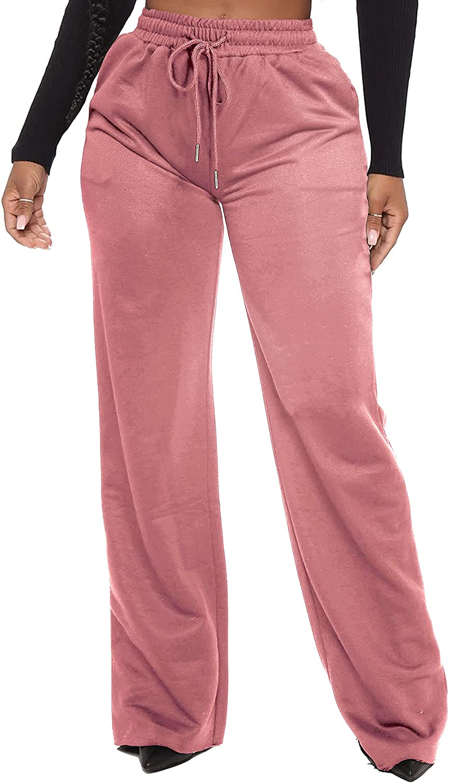 Waitfairy Womens Wide Leg Max 49% OFF Palazzo Draws Sweatpants Workout Pants Mail order cheap