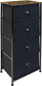 Sorbus Tall Nightstand - 4 Drawer Fabric Dresser, Tall Skinny Dresser for Bedside Furniture, Storage Organizer Dresser for Home, Hallway, Office, College Dorm, Steel Frame, Rustic Wood Top, (Black)