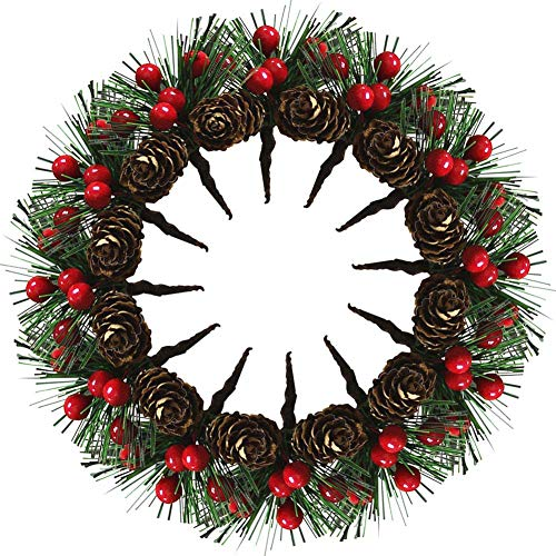Richaa 20 Stücke künstliche Kiefernplektren, Plektren Künstliche Tannennadeln Rote Beeren Tannen Zapfen Künstliche Kiefer für Weihnachtsgestecke und Urlaubsdekorationen
