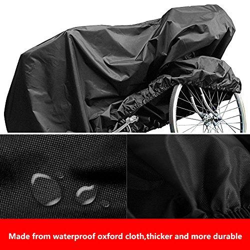 Mture Fahrradabdeckung, Wasserdichter Fahrradgarage Fahrradschutzhülle Universal Fahrrad Gewebeplane Regenschutz Schutzbezug 190x65x98CM – Schwarz - 2