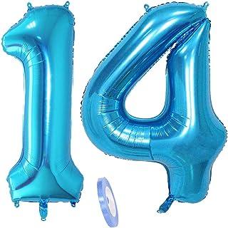 """2 globos numeros 14, número 14 azul niñas niño infantil ,40"""" figuras globo inflable gigante grande de papel de helio number globo azules para cumpleaños 14 años niños decoración de fiesta (xxxl 100cm)"""