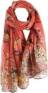 Mother's Day Sale Scarves ! Women Flying Bird Flower Printed Long Scarf Soft Thin Sunscreen Wrap Shawl 90x180cm