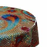 DecoHomeTextil Wachstuch Tischdecke RUND OVAL Farbe & Größe wählbar Mosaik Bunt 130 x 180 cm Oval abwaschbare Wachstischdecke