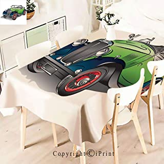 Party Decorations Polyester Tablecloth,Convertible Vintage Green Car with Colorful,Waterproof Stain Resistant Table Topper,W55 xL71,Green Gray