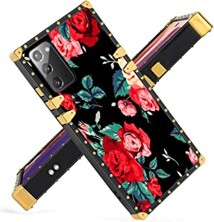 Fiyart Samsung Galaxy Note20 5G Case Red Flower Luxury Square Soft TPU and Hard PC Back Stylish Retro Cover 6.9 inch 2020