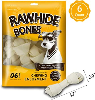 6 Count MODONE Nature Rawhide Bones
