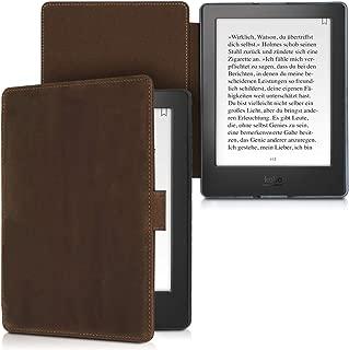 kalibri Case for Kobo Aura H2O Edition 2 - Book Style Real Leather Protective e-Reader Cover Folio Case - Brown