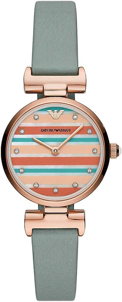 Emporio armani, orologio per donna,  in acciaio inossidabile di colore oro rosa e cinturino in vera pelle AR11292