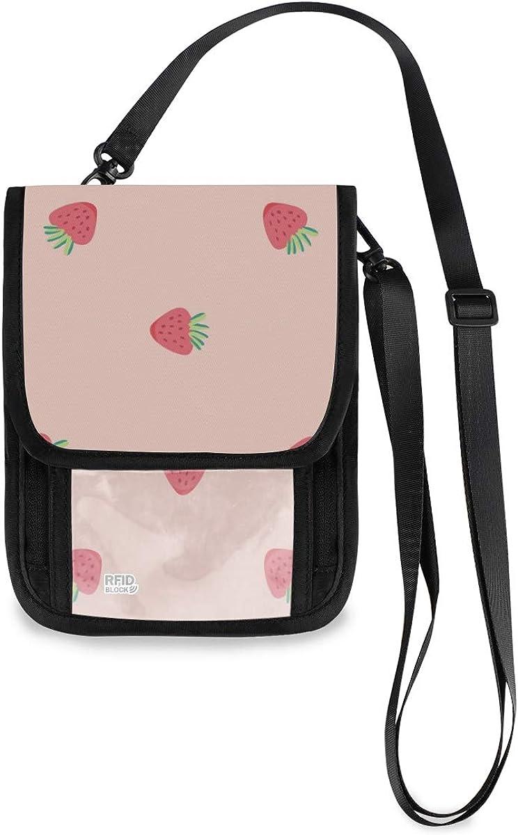 VIKKO Beautiful Pink Phoenix Mall Strawberry Fruits Attention brand Travel With Neck Wallet