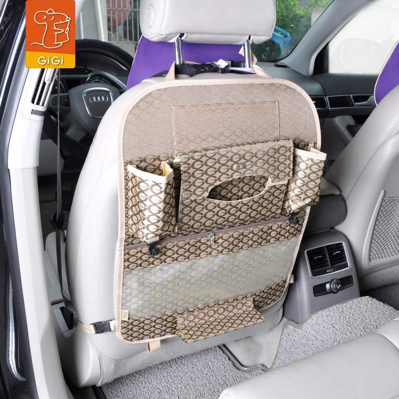 GiGi吉吉 车载多功能置物袋 车用整理收纳椅背袋 实用杂物内饰箱包 (咖啡色)