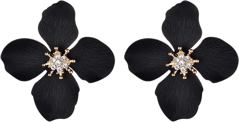 Nicole Miller New York Black Four Leaf Flower Goldtone Center Crystal Rhinestone Stud Earrings