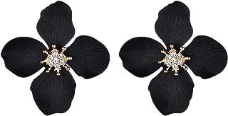Black Four Leaf Flower Goldtone Center Crystal Rhinestone...