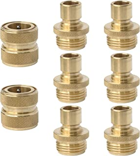 PLG Brass Quick Connector for Garden Hose,2 Female + 6 Male