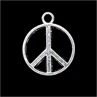 Pack of 80 Pease Symbol Charms Pendants Silver Craft Supplies for Jewelry Making Tibetan Accessories for Bracelets Necklace DIY