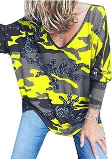 Womens V-Neck Long Sleeve Camo Print Blouse Plus Size Tops T-Shirts